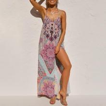 Sexy halter print split dress