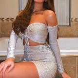 Sexy Tube Top Long Sleeve Bodycon Dress Suit