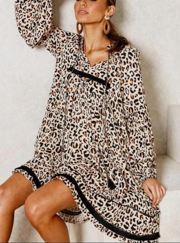 Fashion V-Neck Print Stitching   Mini Dress
