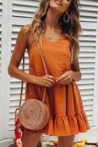 Sexy Orange Sleeveless Mini Dress