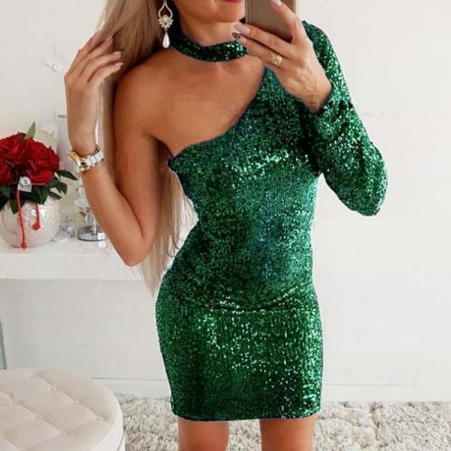 One-shoulder Slim Sequin Evening Dress