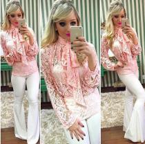 Long Sleeves Strap Bowknot Lace Blouse