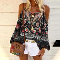 Fashion Splicing Printed Sling Off Shoulder Shirt