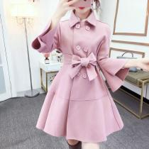 Fashion Pure Colour Bell Sleeve Slim With Woollen Coat
