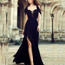 Spaghetti Strap  High Slit  Plain Evening Dresses