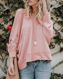 Solid Long Sleeve Open Back Blouse