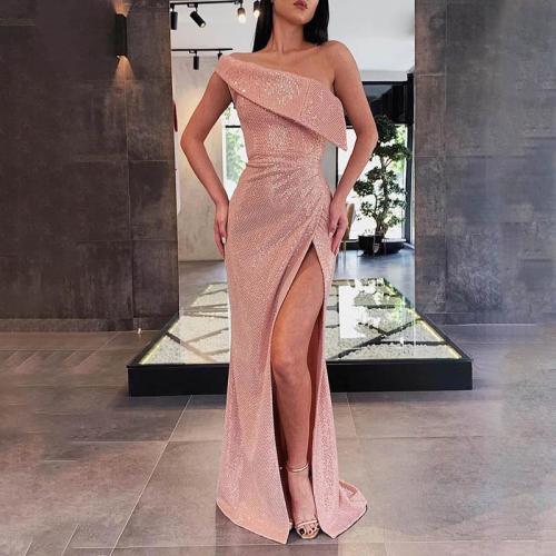 Retro Fashion Side Slit Inclined Shoulder Sleeveless Evening Dress