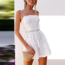 Sumemr Lace Hollow Shoulder Straps Cotton And Linen Conjoined Shorts