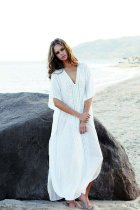 Beach Dress, Cover Up, Kaftan Dress, Embroidered Dress, All White