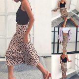 High Waist Leopard Midi Skirt Female Hidden Elasticized Waistband Silk Satin Skirts Slip Style Animal Print Skirt Women Plus