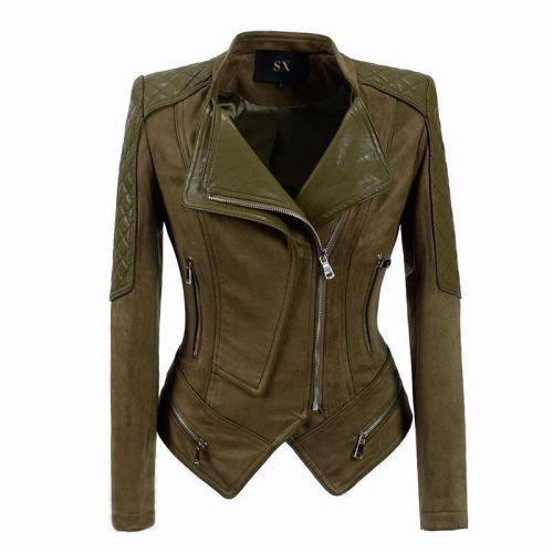 Slim Lapel Zipper Irregular Women Motocycle Jacket
