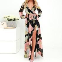 Sexy V-Neck Print Long Sleeve Split Dress