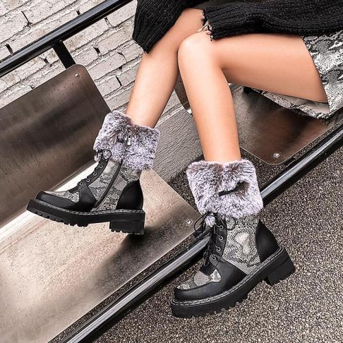 Fashion Warm Snake Patchwork Non-slip Boots