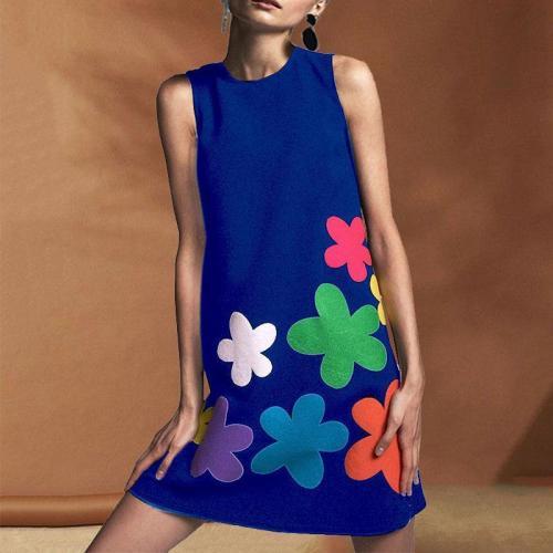 Round Neck Sleeveless Bohemian Print Dress