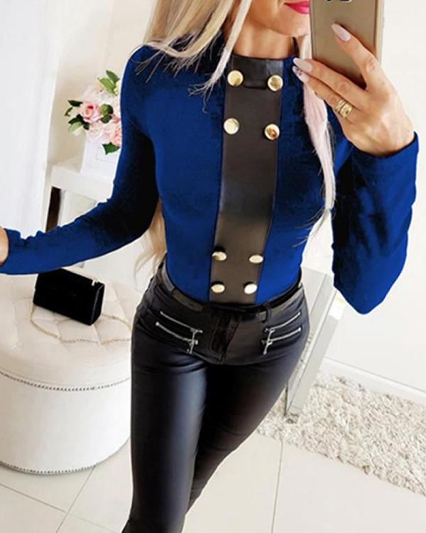Faux Button Long Sleeve Top