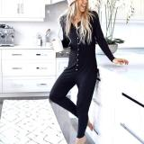 EBUYTIDE Black Round Neck Long Sleeve Slim Fit Button Jumpsuit