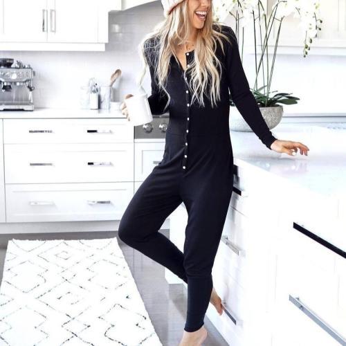 EBUYTIDE Black Round Neck Long Sleeve Slim Fit Button Jumpsuit
