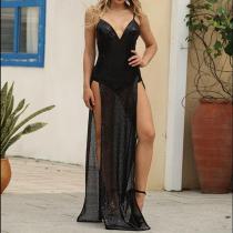 Fashion Sexy Split Sling Evening Dress