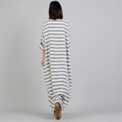 Casual Comfortable Cotton Linen Striped Maxi Dress