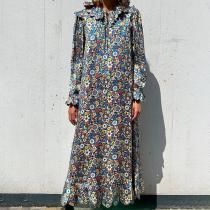 Bohemian Tie Collar Printed Colour Casual Maxi Dress