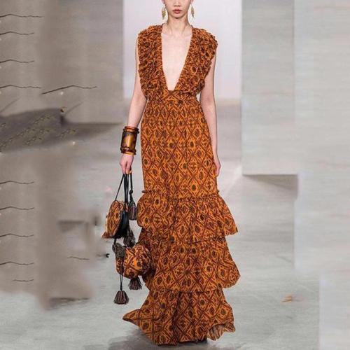 Elegant V Neck Ruffled Pleated Splicing Sleeveless Printed Colour Dress