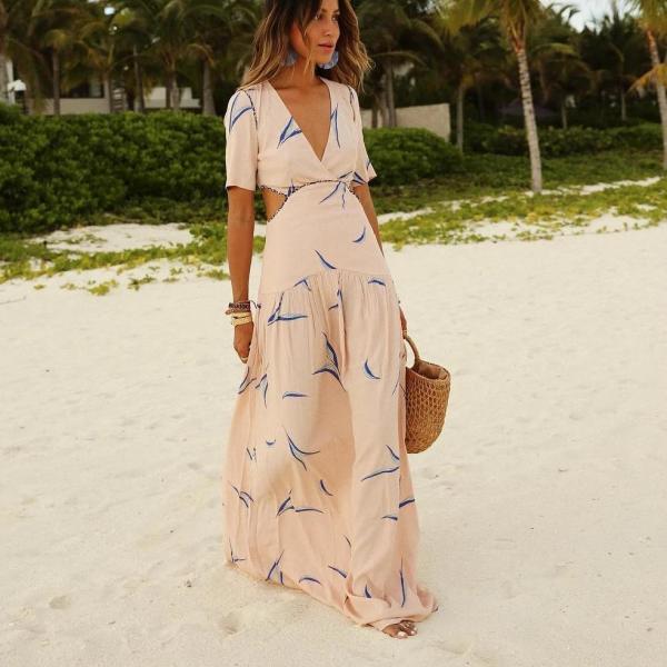 Elegant V-Neck Print Short Sleeve Maxi Dress