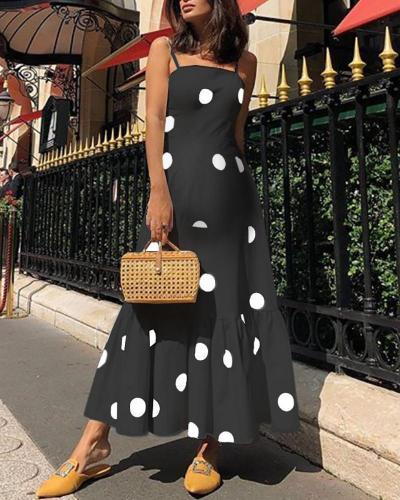 Maternity Polka-Dot Sash Fashion Dress