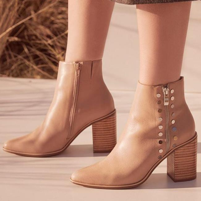 Women's Fashion Solid Color Studded Ankle Boots