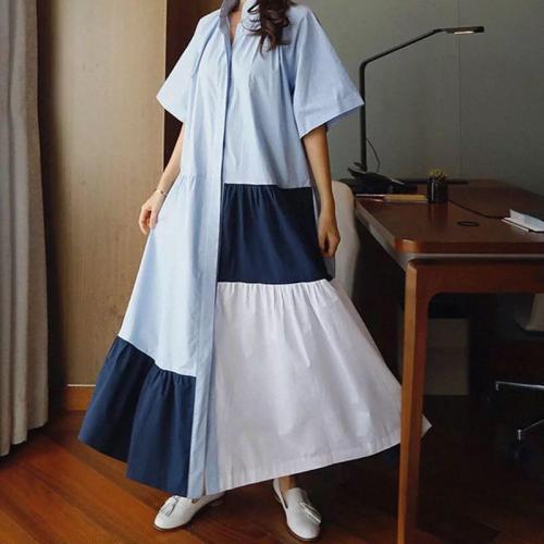 Korean Style Women's Long Dress Temperament Cotton Fashion Casual Ladies Dress Loose Pluz Size Dress Summer 2020