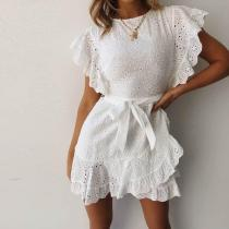 Ruffled Stitching Lace Dot Cut   Flower Sand Jumpsuit