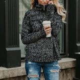 High Collar Zipper Up Pullover Sweater