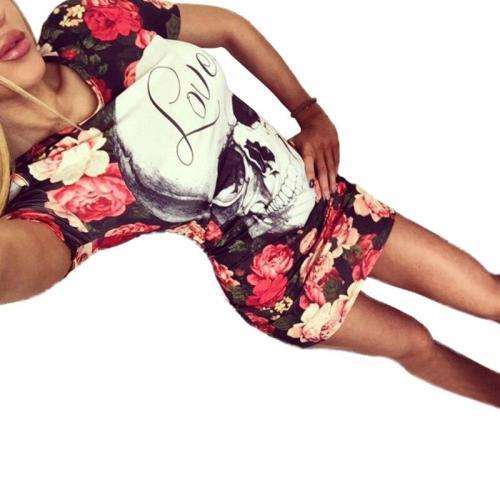 Skull Floral 3D Bodycon Wrap Dress New Fashion Short Sleeve O Neck Summer Slim Fit Pencil Dress Robe Vintage Club Party Dresses