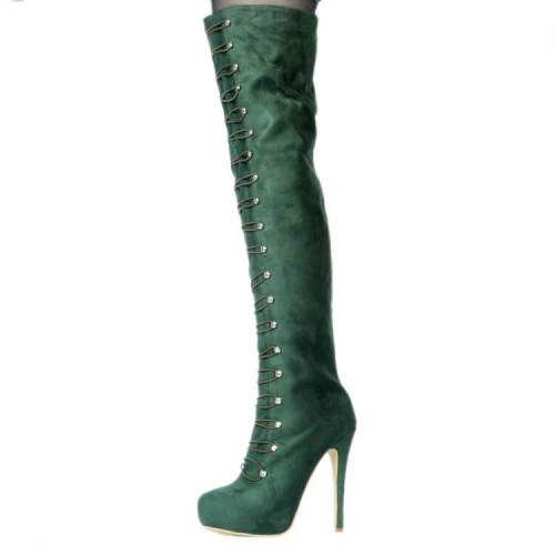 Over Knee Boots Platform Suede Army Boot