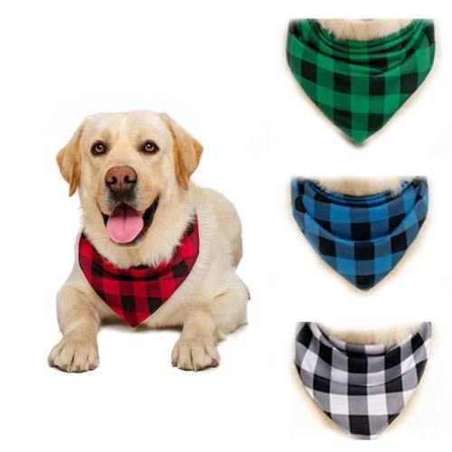 High quality dog bandana for medium large dog Plaid Pet Neckerchief  accessories scarf dog bandana Grooming Bibs Collar 2020