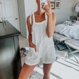 EBUYTIDE Simple Casual White Sling Jumpsuit