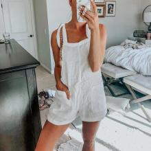 EBUYTIDE Simple Casual White Sling Jumpsuit