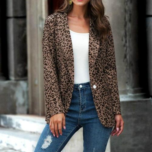 EBUYTIDE Autumn Women Blazers Fashion Korean Lady Thin Leopard Print Jacket Long Sleeve Lapel Button Slim Suit Female Business Coat