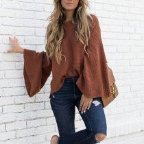 Fashion Plain Long Sleeve Sweaters