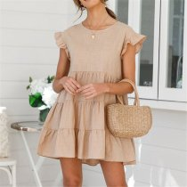Lovely Plain Round Collar Loose Flounce Embellished Vacation Dress