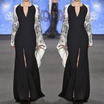 Elegant Fashion Slim Floral V Collar Flare Long Sleeve Fork Evening Dress