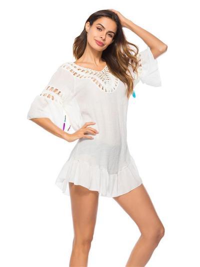 Plain Hollow Short Sleeves Cover-Ups Swimwear
