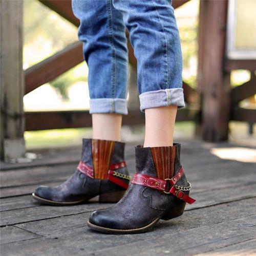 Women's Fashion Block Heel Martin Boots
