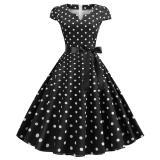 Women Retro Vintage Dot Dress Blue 50s 60s Rockabilly Swing Robe Pin Up Summer Party Dresses Elegant Tunic 2020 Vestidos Casual