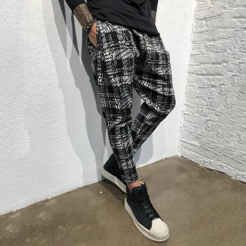 Men's Fashion Gradient Lattice Printing Casual Pants