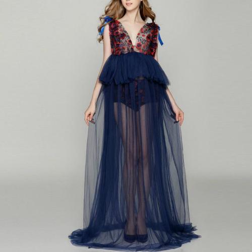 Dark_Navy Lace Deep V Floral  Maternity Full Length Dress