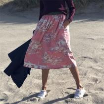 Women's Print Elastic Waist Midi Skirt RY58