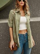 Solid Color Long Linen Shirt