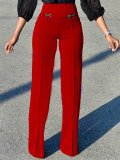 Elegant High-Waist Pure Colour Straight Pants