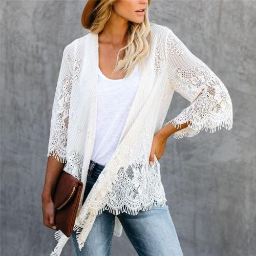 Women's casual solid color lace cardigan