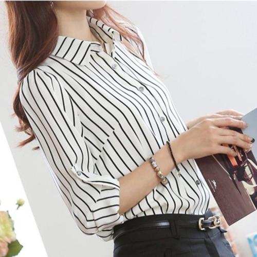 Striped Turn-down Collar Long Sleeves Slim Plus Size Chiffon Blouse